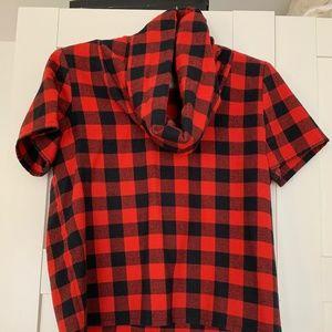 Plaid cowl neck blouse